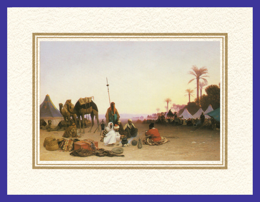 Mathaf Collection of Orientalist Art MC9 - Charles Theodore Frere - 'Halte d'une Caravane' (Pack of 5 cards and envelopes) - manara