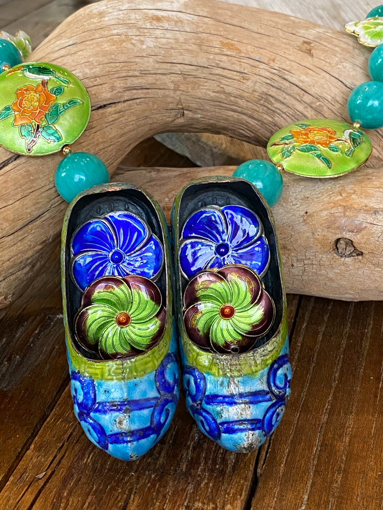 Chinese Enamel Slippers Necklace