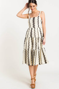 Square Neck Tiered Midi Dress
