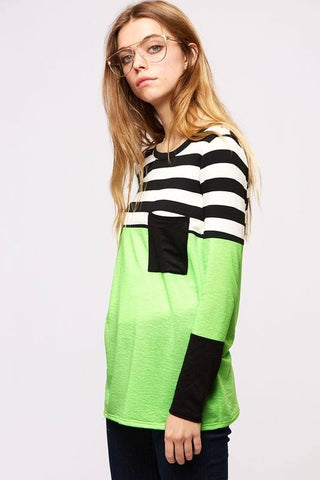 Flourescent Stripe Contrast Top