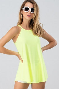 Neon Yellow Chocker Neck Top