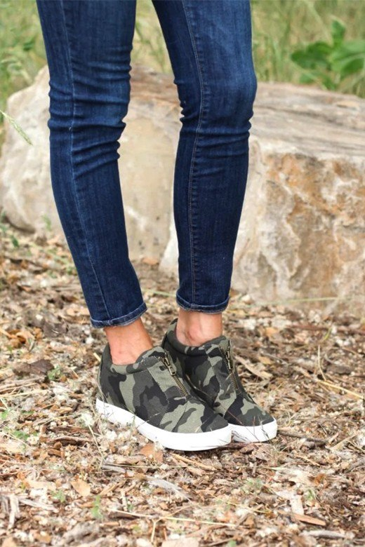 Camo Zip-Up Shoes