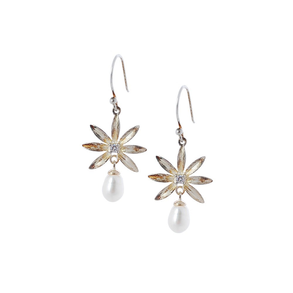 Sterling silver earrings with freshwater pearl and cubic zirconium stone
