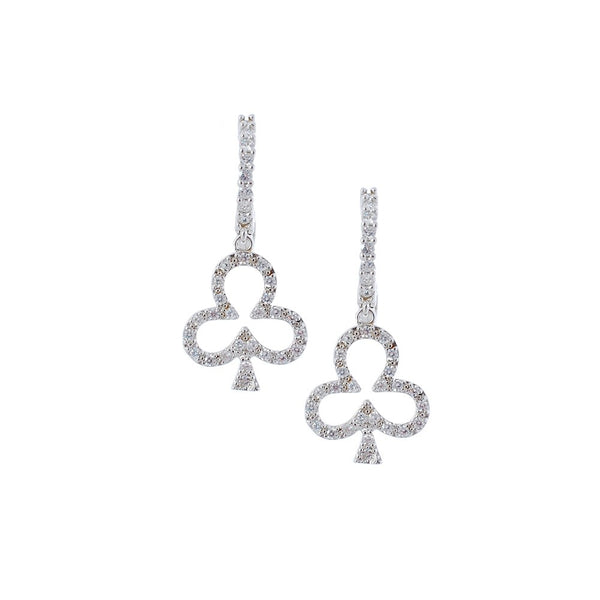 Sterling silver club-shaped earrings with cubic zirconium stones