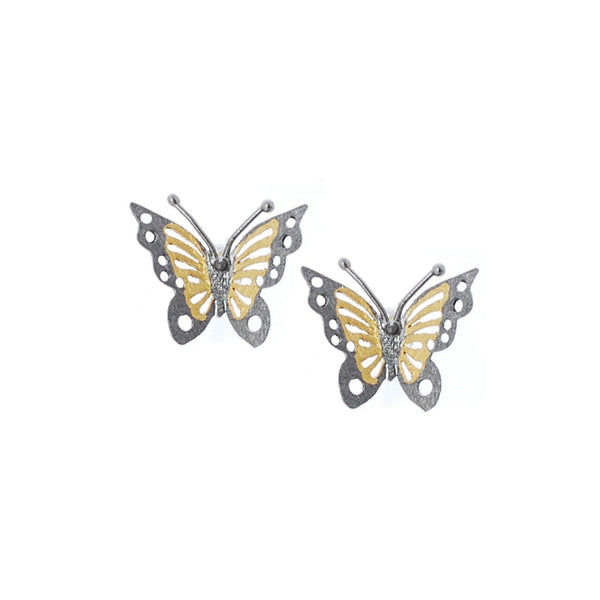 Sterling silver gilded and oxidised, butterfly shaped earrings