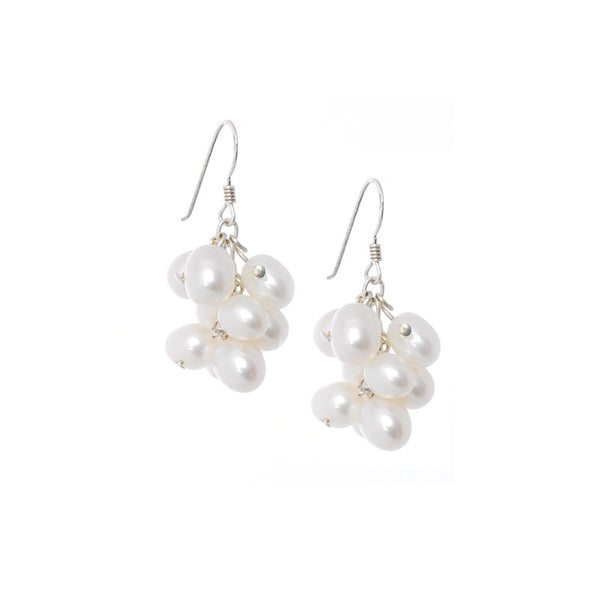Sterling silver earrings with small bunch of larger freshwater pearls