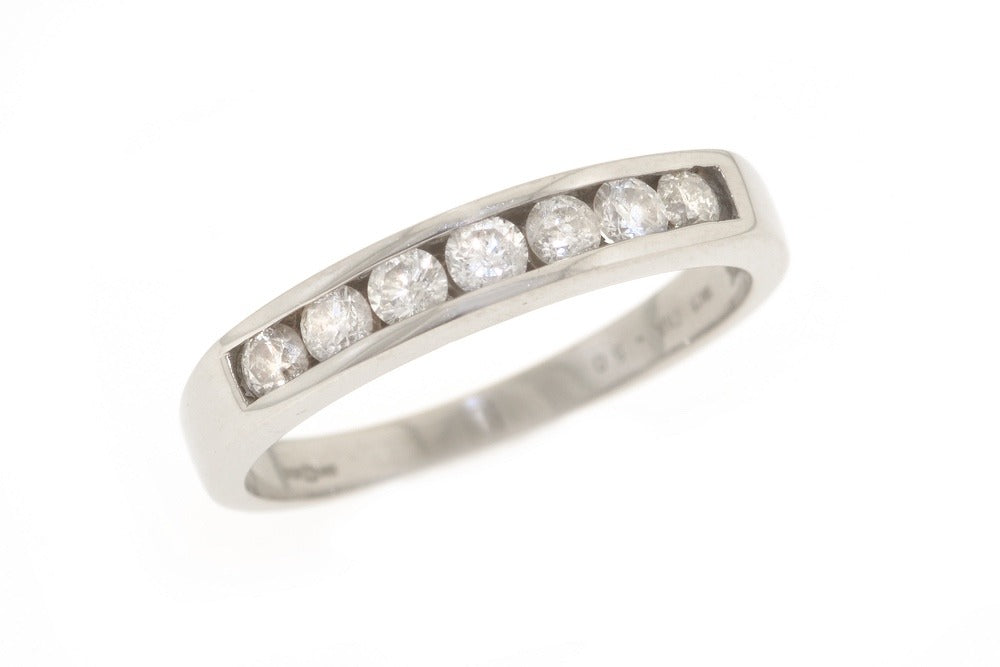 18ct white gold and diamond half eternity ring, channel