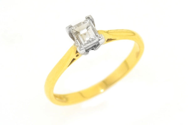 18ct yellow and white gold ring with .50 carat diamond