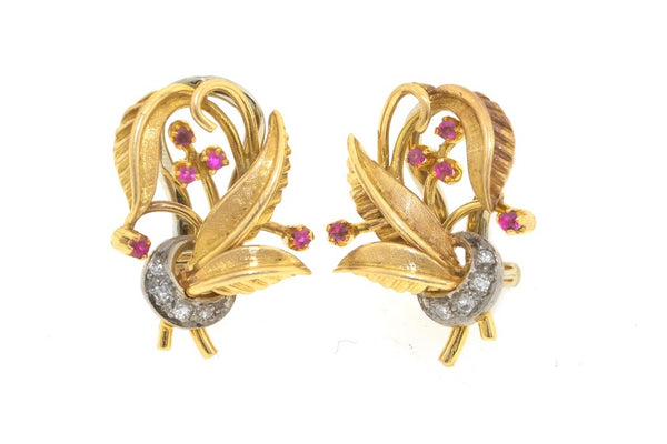 18ct gold art nouveau style clip earrings with rubies and diamonds
