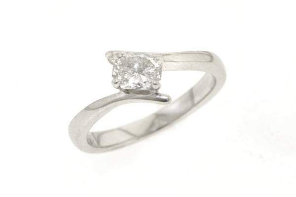 Platinum twist ring with half a carat oval cut diamond