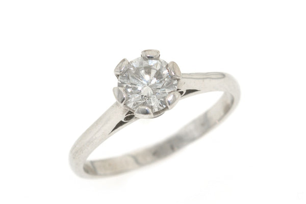18ct white gold, single diamond ring