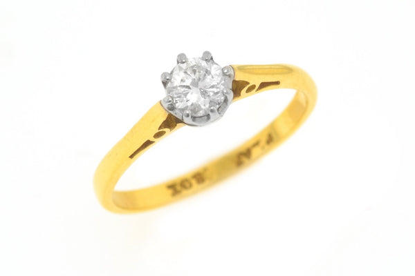 18ct Gold Ring with Platinum Setting and Diamond