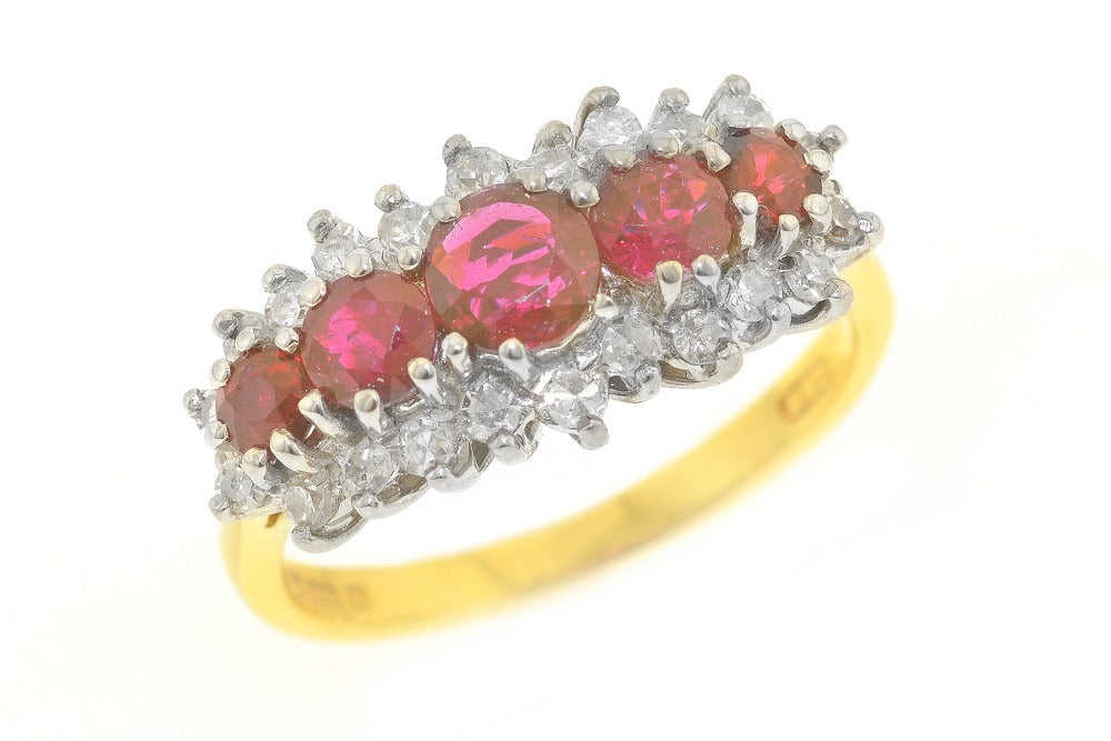 Diamond and Ruby 18ct Gold Ring