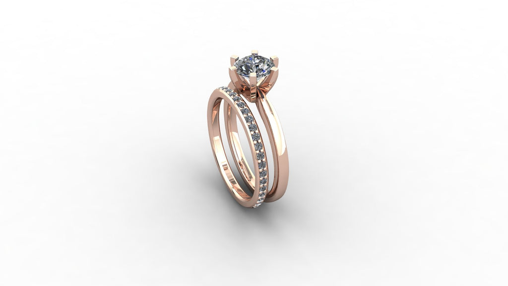 18ct gold engagement ring with fitted wedding band