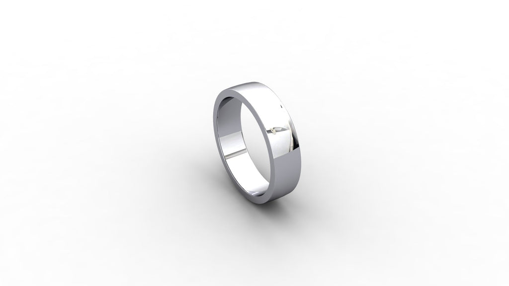 Platinum flat court wedding band