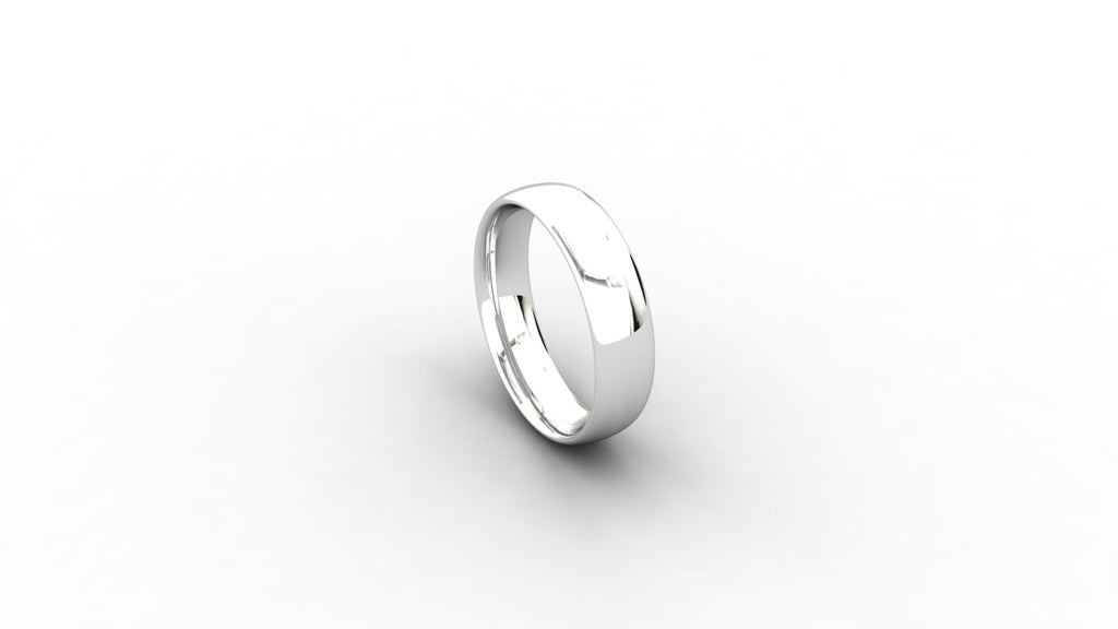 18ct white gold Court shaped wedding band