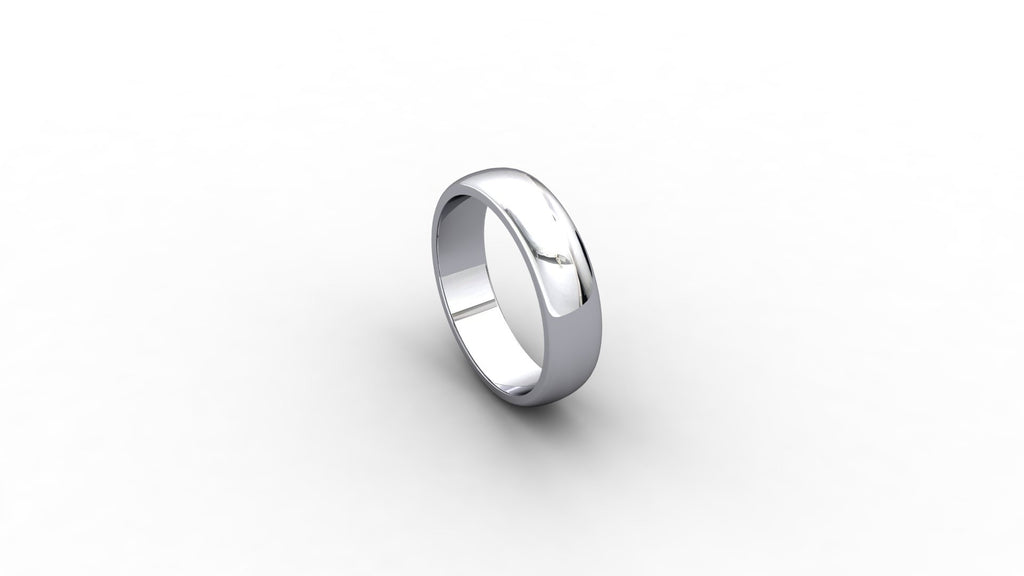 Platinum D-shaped wedding band