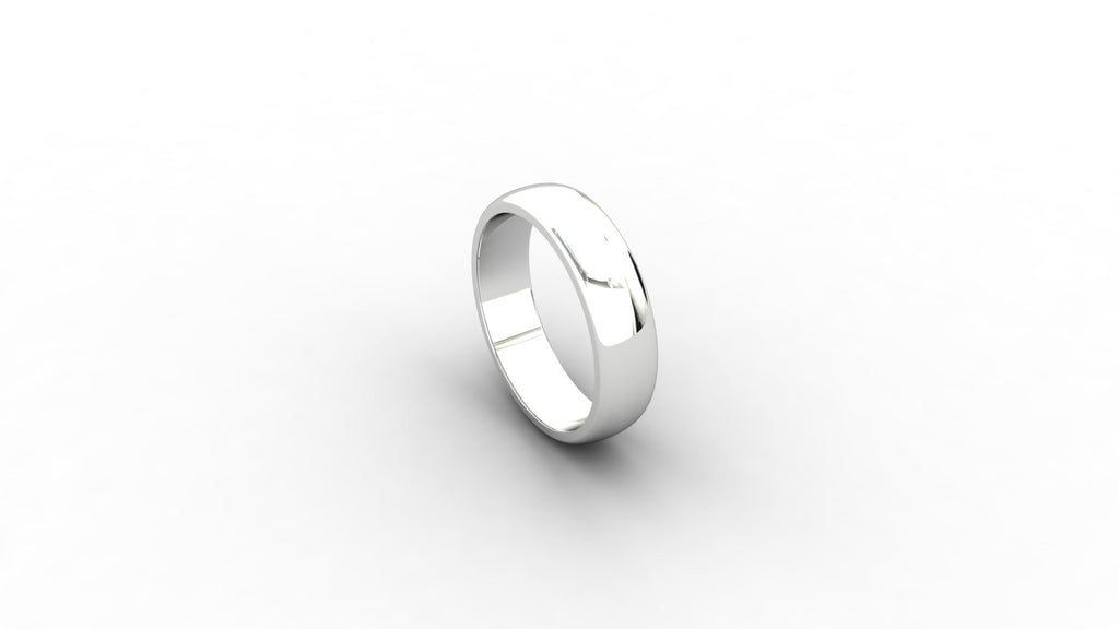 9ct white gold D-shaped wedding band