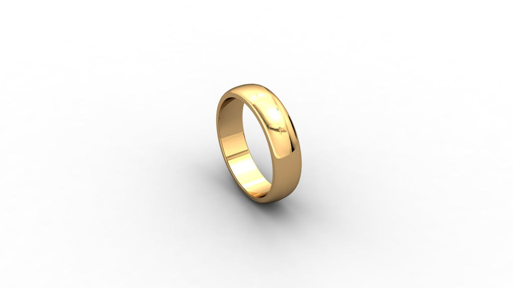 9ct yellow gold D-shaped wedding band
