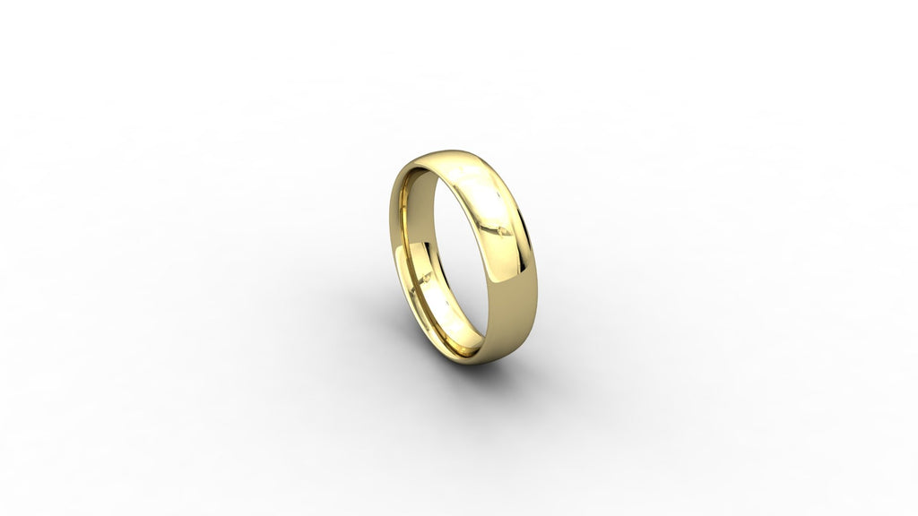 18ct yellow gold Court shaped wedding band
