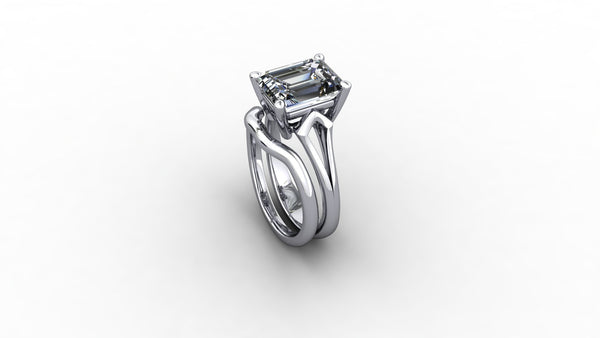 Emerald cut diamond choice of platinum, 18ct white or yellow gold