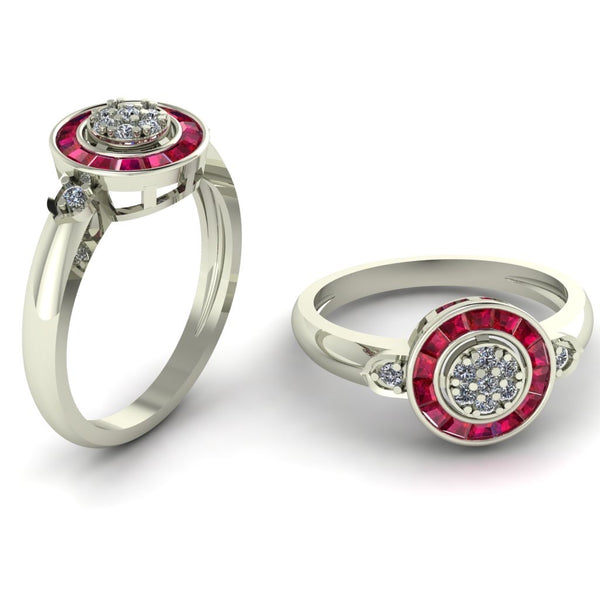 18ct white gold with ruby and diamonds