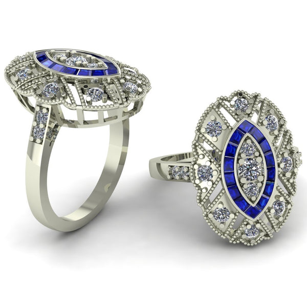 18ct white gold sapphire and diamonds