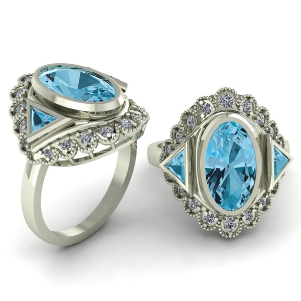 9ct white gold blue topaz and diamond