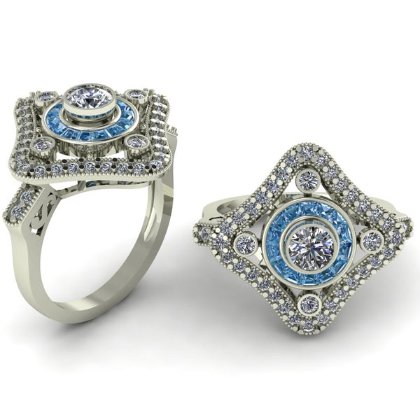 18ct white gold aqua marine and diamonds