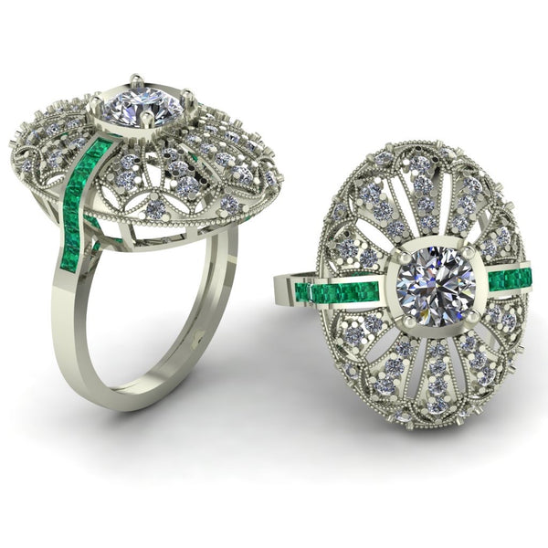 18ct white gold with emerald diamond