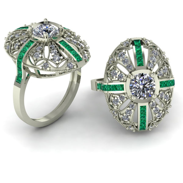 White gold with emerald and diamonds
