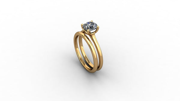 18ct yellow gold engagement ring with fitted wedding band