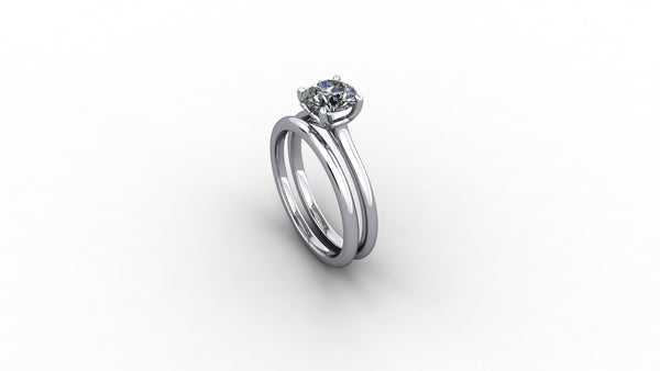 18ct white gold engagement ring with fitted wedding band