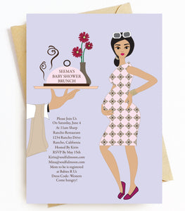 Brunette Baby Shower Invitations