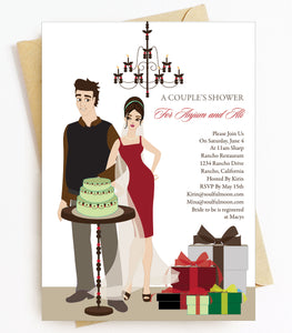 Brunette Bridal Shower Invitations