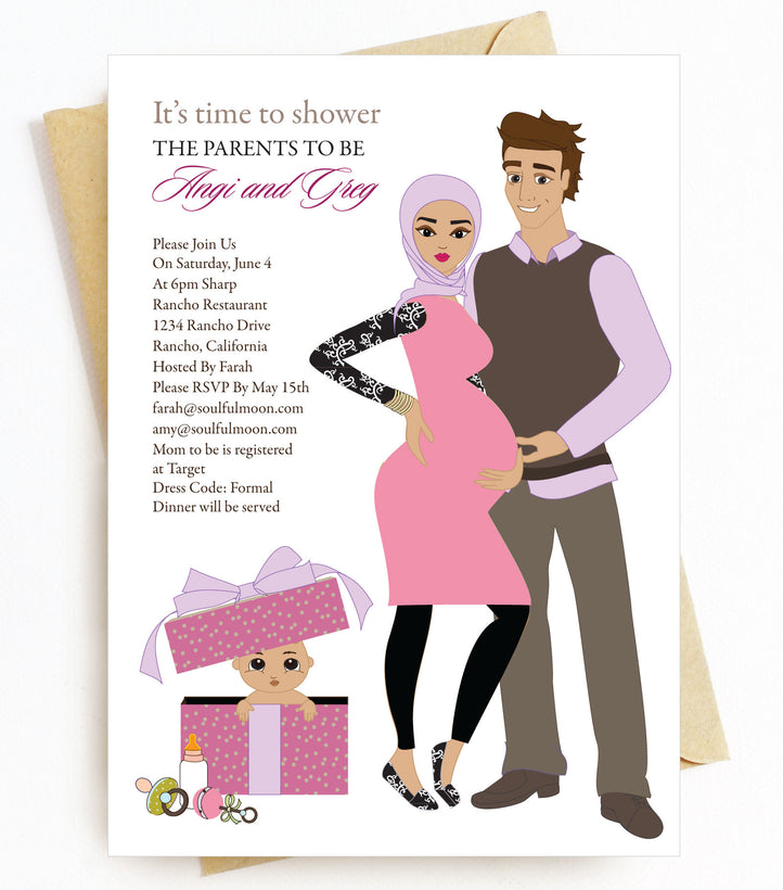 Hijab Headscarf Baby Shower Invitations