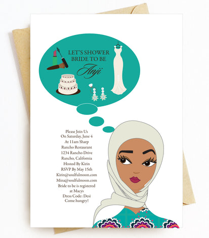 Hijab Headscarf Bridal Shower Invitations