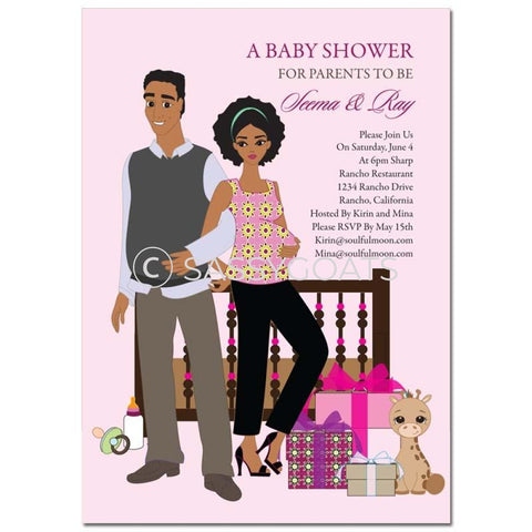 African American Baby Shower Invitation - Back To