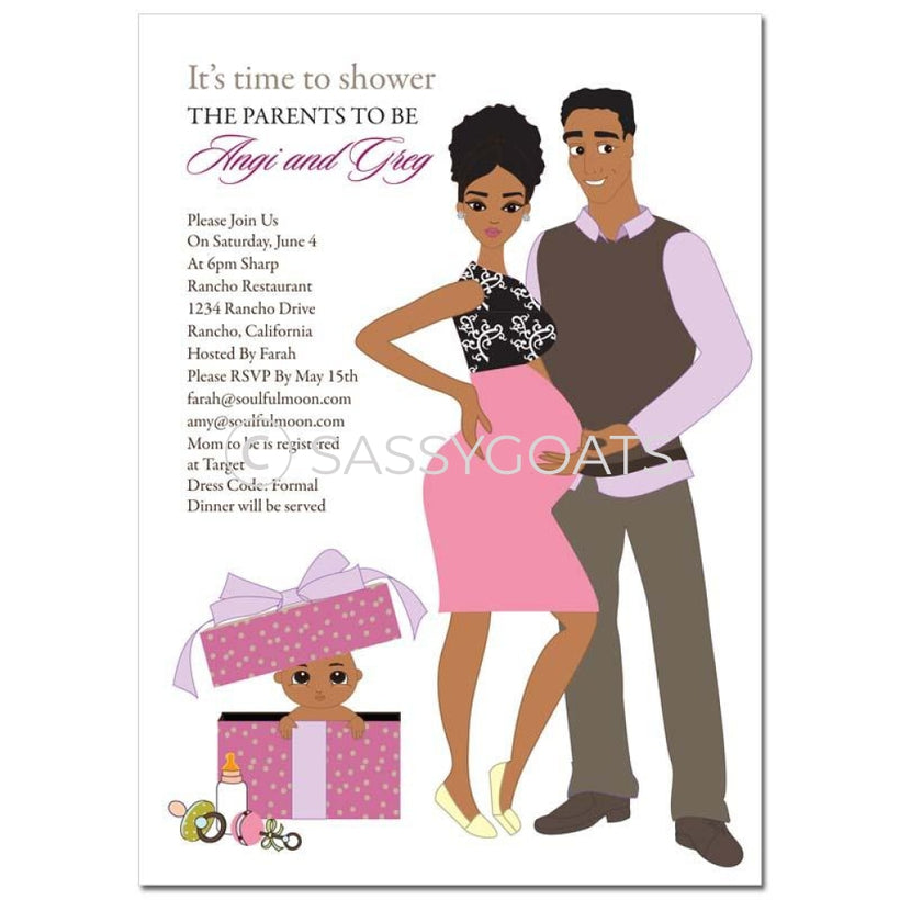 African American Couples Baby Shower Invitations