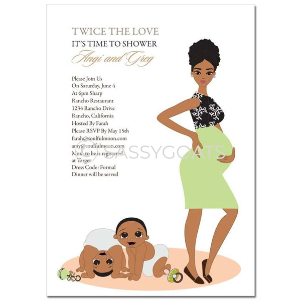 African American Baby Shower Invitation - Glam Mommy Twins