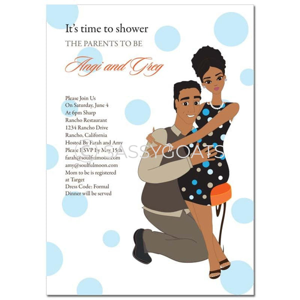 African American Baby Shower Invitation - Hugs