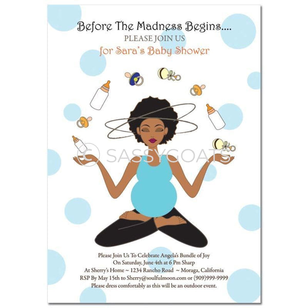 African American Baby Shower Invitation - Meditating Mommy