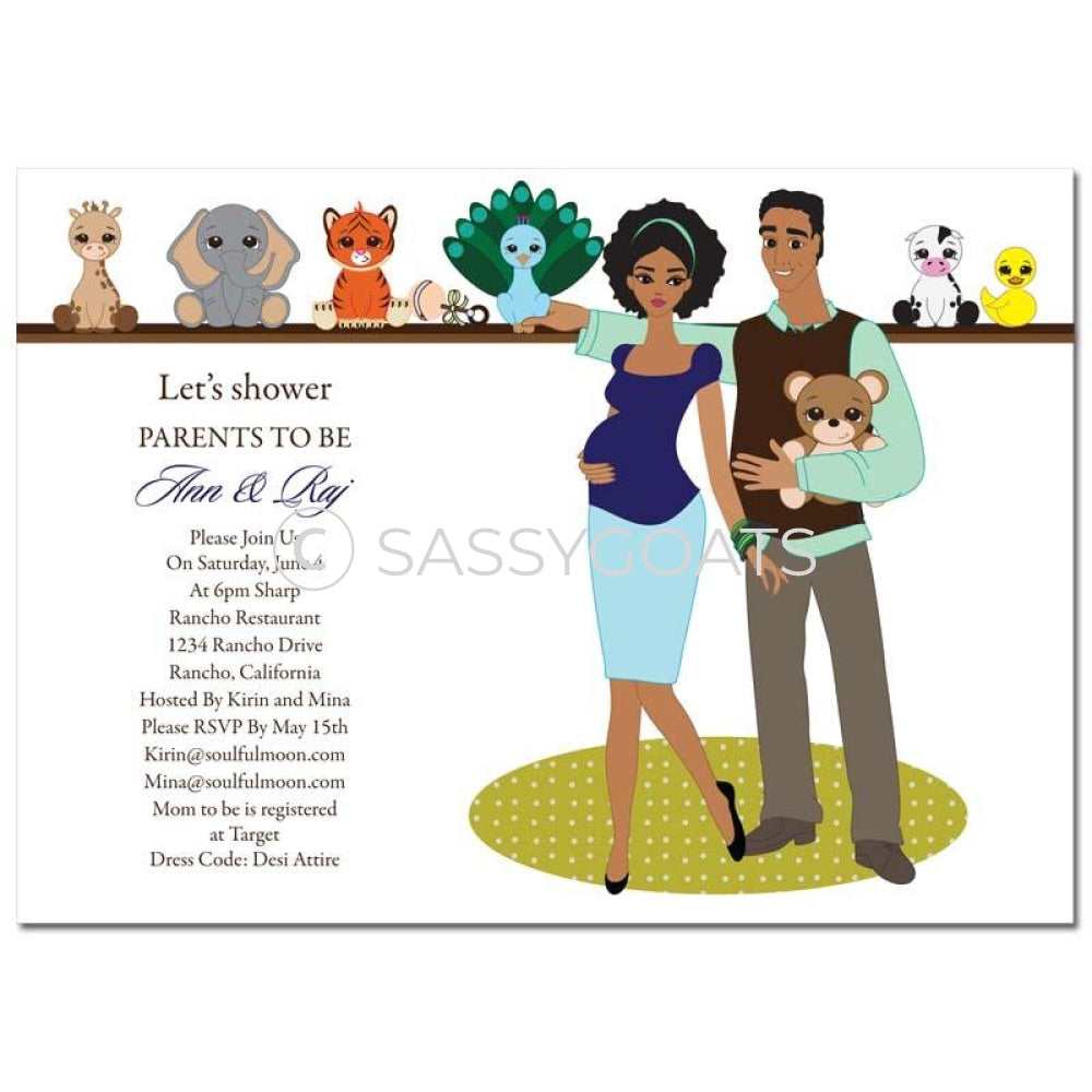 African American Baby Shower Invitation - Shelf