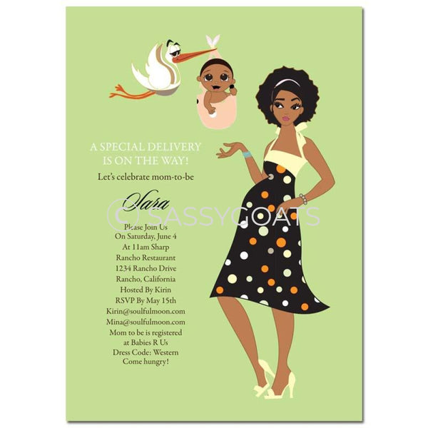 African American Baby Shower Invitation - Spring Delivery