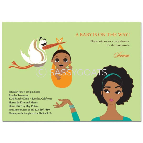 African American Baby Shower Invitation - Stork Mommy