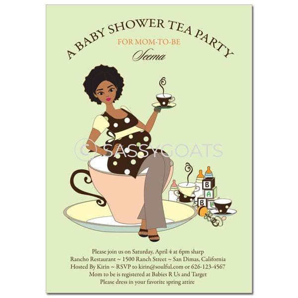 African American Baby Shower Invitation - Teacup Mommy