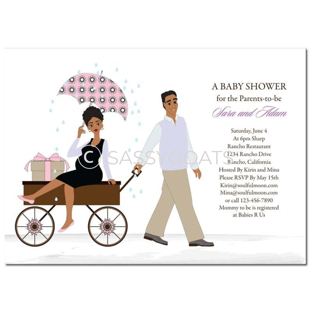 African American Baby Shower Invitation - Wagon Diva
