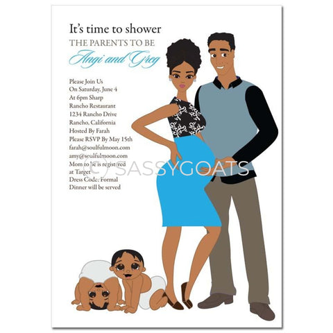 African American Couple Baby Shower Invitation - Glam Couples Twins