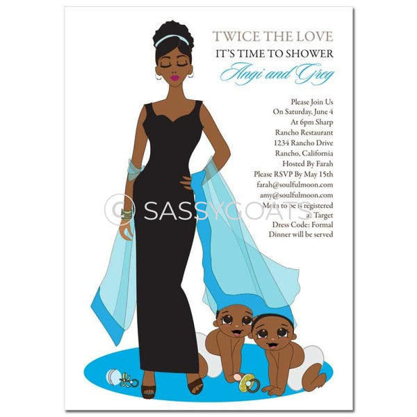 African American Twin Baby Shower Invitation - Hide And Seek Twins
