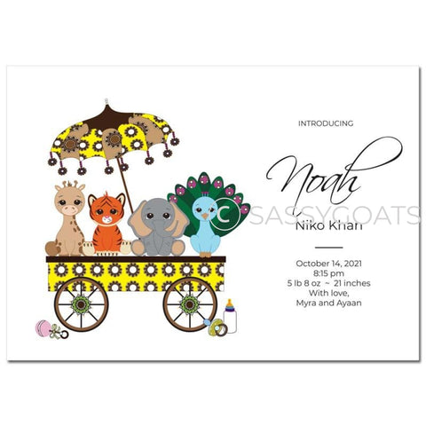 Baby Shower Announcement - Animal Wagon